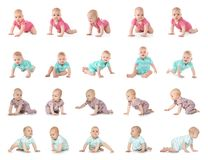 Set of cute little babies crawling. On white background stock photo