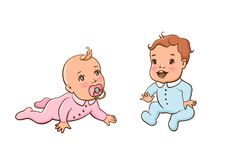 Set with cute little babies. Small girl and small boy. The child crawls and sucks the nipple. The child is sitting and his expression is joyful. Colorful Royalty Free Stock Images