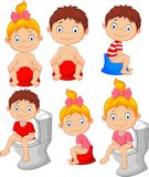 Set of cute little babies sitting on the potty vector illustration