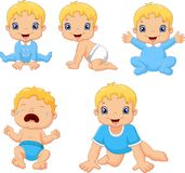 Set of cute little babies in various poses vector illustration