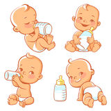 Set with cute little baby with bottle of milk. Baby boy or girl in diaper holding bottle. Newborn nutrition. Happy child drink milk. Emblem for formula or milk vector illustration