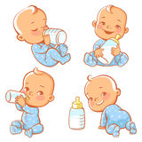 Set with cute little baby with bottle of milk. Royalty Free Stock Images
