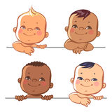 Set of cute little baby boys Stock Photos