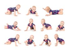 Set of cute little baby crawling on white royalty free stock images