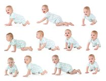 Set of cute little baby crawling on white royalty free stock photos