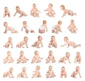 Set of cute little baby crawling on white stock photos