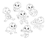 Set with cute little baby in diaper. Happy smiling newborn boy or girl in different situations. Set with cute little baby in diaper. Funny cartoon character stock illustration