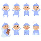 Cute little baby in footies with different emotions stock illustration