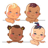 Set of cute little baby girls Stock Photography