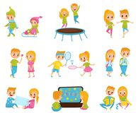 Flat vector set with cute little boy and girl in different actions. Jumping on trampoline, watching cartoons, opening stock illustration