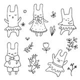 Set of cute little cartoon hares Royalty Free Stock Photo