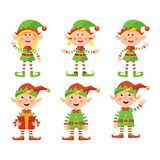 Set of cute little Christmas girls and boys elf smiling, vector illustration isolated on white background royalty free illustration