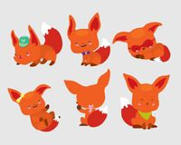 Set of cute little foxes in movement and in different poses. Positive emotions are reflected in muzzles. Use as sticker. Icon symbol emoticon badge sign book Vector Illustration