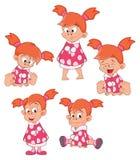 Set Cute Little Girl for you Design Cartoon Stock Photos