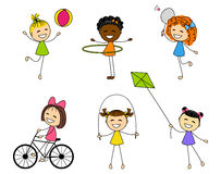 Set of cute little girls. In action Stock Images
