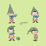 A set of cute little gnomes. Royalty Free Stock Images