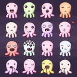 Set of cute little monsters emoticons. Hand drawn vector  illustrations Stock Image