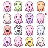 Set of cute little monsters emoticons. Hand drawn vector isolated illustrations Royalty Free Stock Images
