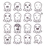 Set of cute little monsters emoticons. Hand drawn vector isolated illustrations Stock Photography