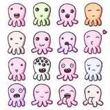 Set of cute little monsters emoticons. Hand drawn vector isolated illustrations Royalty Free Stock Image