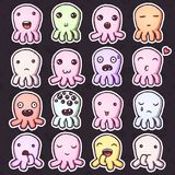 Set of cute little monsters emoticons. Hand drawn vector isolated illustrations Stock Photos