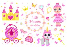 Set of cute little princess, castle, pony, crown carriage and accessories. Fairy Tale Baby girl princess and her pet royalty free illustration