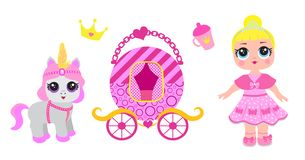 Set of cute little princess, castle, pony, crown carriage and accessories. Fairy Tale Baby girl princess and her pet vector illustration