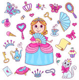 Set with cute little princess with a diadem Stock Images