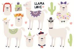 Set of cute llamas vector illustration