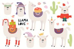 Set of cute llamas stock illustration