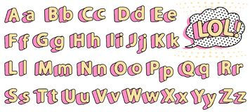 Set of cute lol doll alphabet. Yellow letters with pink shadow for little princess. Vector retro vintage typography . Font collection title or headline modern royalty free illustration