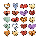 Set of cute lovely emoticons. Doodle kawaii face, sweet and childlike manga cartoon style. Vector valentines collection Royalty Free Stock Image