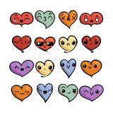 Set of cute lovely emoticons. Doodle kawaii face, sweet and childlike manga cartoon style. Vector valentines collection Royalty Free Stock Images