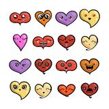 Set of cute lovely emoticons. Doodle kawaii face, sweet and childlike manga cartoon style. Vector valentines collection Royalty Free Stock Photos