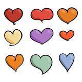 Set of cute lovely emoticons. Doodle kawaii face, sweet and childlike manga cartoon style. Vector valentines collection Royalty Free Stock Photo