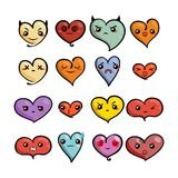 Set of cute lovely emoticons. Doodle kawaii face, sweet and childlike manga cartoon style. Vector valentines collection Stock Photo