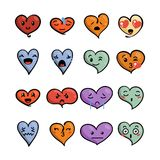 Set of cute lovely emoticons. Doodle kawaii face, sweet and childlike manga cartoon style. Vector valentines collection Stock Image