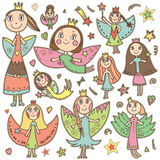 Set of cute lovely fairies in children's drawing style. Stock Image