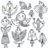 Set of cute lovely fairies in children's drawing style. Stock Photos
