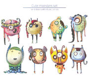 Set of cute and lovely hand drawn monsters, drawn with pencils and ink on white background. Raster large illustration with collect Royalty Free Stock Photos