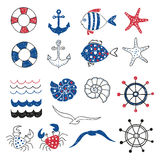 Set of cute marine decorative elements isolated on white. Marine theme design. Collection of hand drawn sea fish, anchors, starfish, seagull, crab. Vector Royalty Free Stock Image