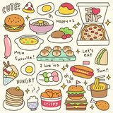 Set of Cute Meal and Dish Doodle Stock Images