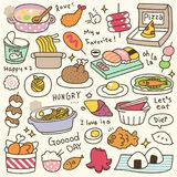 Set of Cute Meal and Dish Doodle Royalty Free Stock Images
