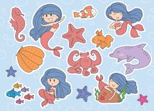 Set of cute mermaids and sea elements, Dolphin, seashell, fishes stock illustration