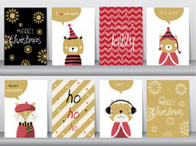 Set of cute Merry christmas  background with cute animal and winter clothes Stock Photography