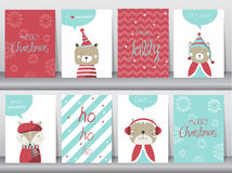 Set of cute Merry christmas  background with cute animal and winter clothes, Vector illustrations Royalty Free Stock Images