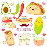 Set of cute mexican food stickers in kawaii style stock images