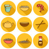 Set of cute modern hand drawn cartoon icons with Royalty Free Stock Photo