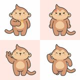 Vector set of cute monkey characters royalty free illustration