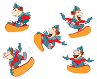 Set of a Cute Monkeys Snowboarding. Cartoon Character Stock Photography